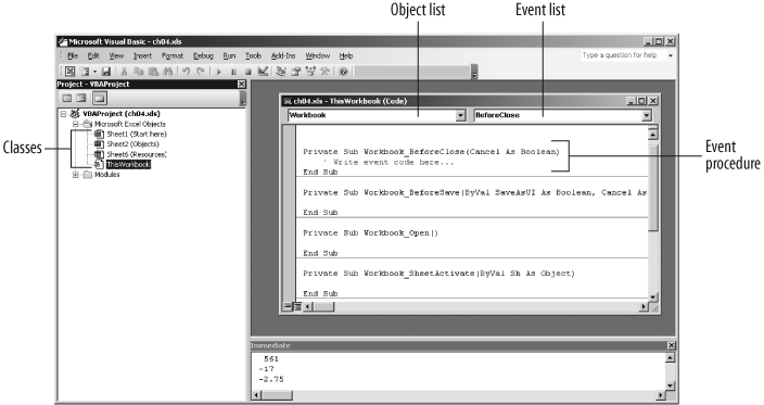 47 Respond To Events In Excel Programming With Vba And. Finding Events In The Visual Basic Editor. Worksheet. Worksheet Calculate Event At Clickcart.co