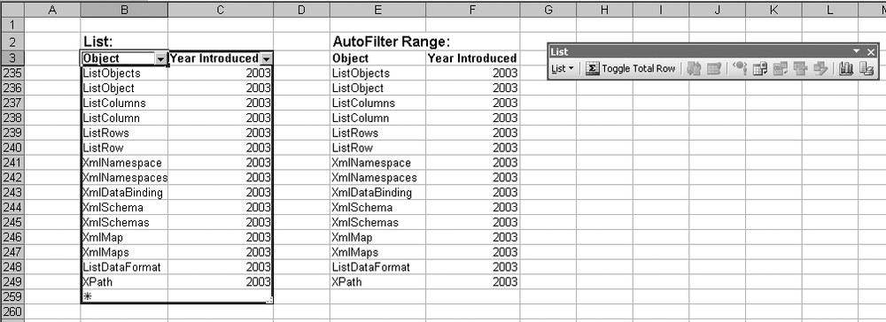 A list (left) and an AutoFilter range (right)