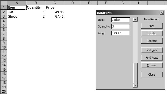 Using a data form to enter values