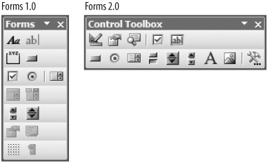 You can use Forms 1.0 or Forms 2.0 controls on a worksheet