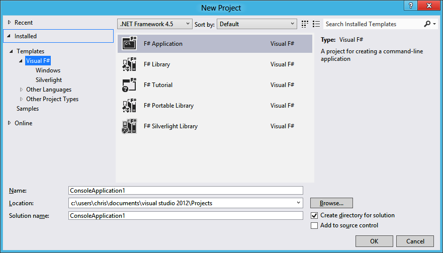 Select F# Application to start your first F# project