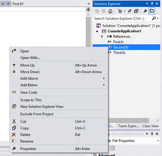 Reordering files within an F# project
