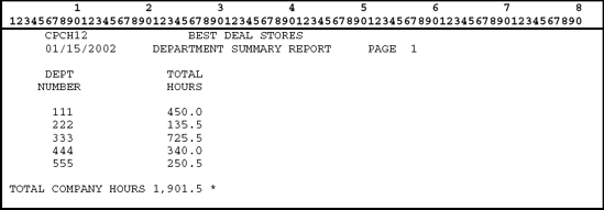 Example of a summary report.