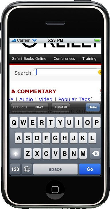 The iPhone and iPod Touch use an onscreen virtual keyboard when the user needs to type something on a website.