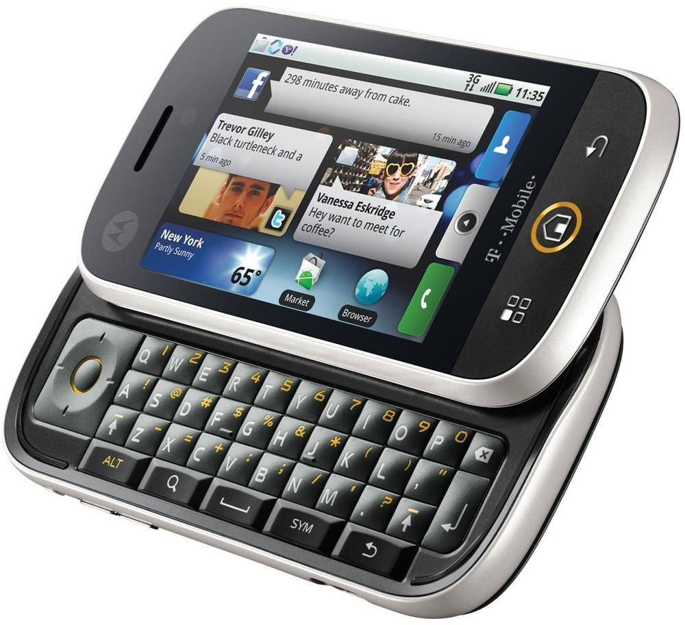 The Motorola CLIQ was the first Android-based device from this company. It includes MOTOBLUR, a push service connecting your home screen with social networks and news sites.