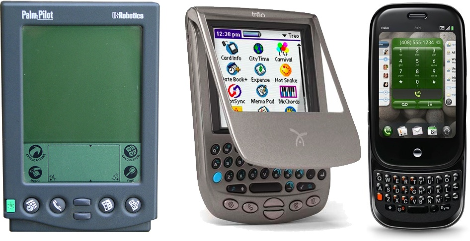 Palm has a really interesting history. Pictured here are the original USRobotics PalmPilot, the Handspring Treo, and the new webOS-based Palm Pre.