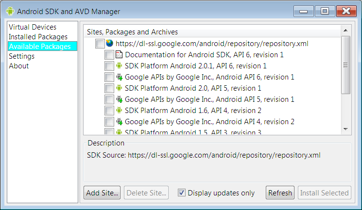 After downloading the Android SDK, open the Manager and download the platforms you want. The Google APIs are needed for native development using Google's services.