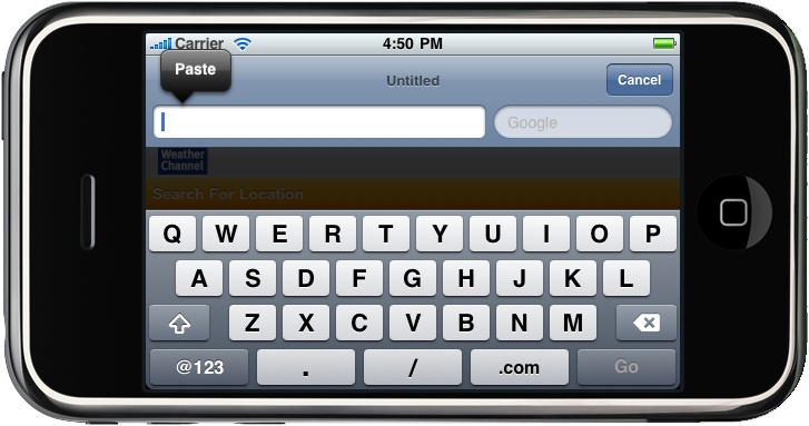 You can use your desktop keyboard, or Edit→Paste to paste text to the iPhone's clipboard, and then tap once on the text input and press Paste on the screen to paste it where you want it to go.