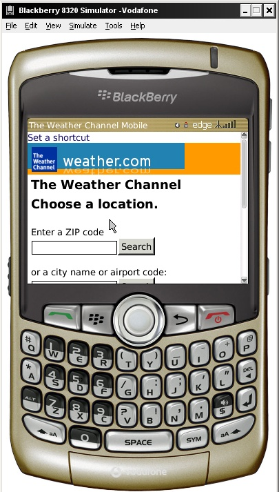 This BlackBerry simulator is pointer-based, so you need to use the onscreen keys or the arrow keys on your desktop keyboard to browse as a mobile user.