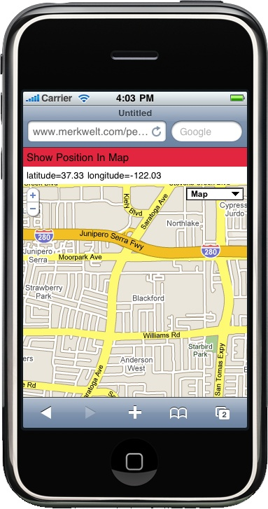 Here we can see the Google Maps API on an iPhone showing the user's current location using the multiplatform framework.