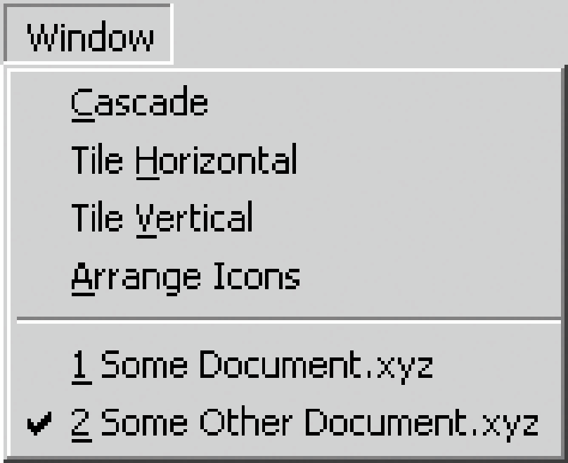 A typical Window menu