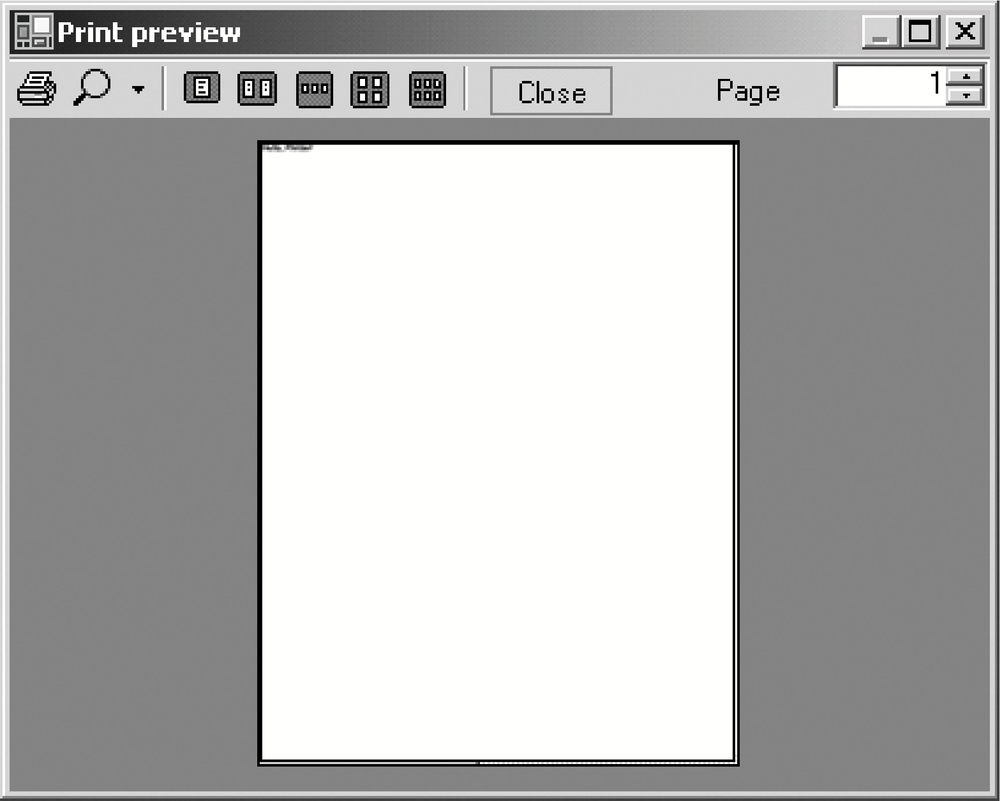 Hello, Printer! in a print preview window