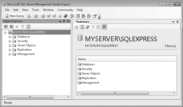 SQL Server 2005 Management Studio Express main form