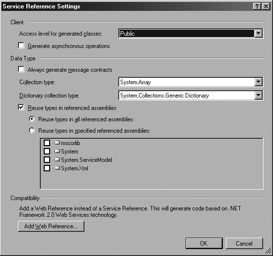 Advanced options for the service reference