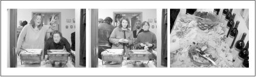 "Three different views taken by the ""Polenta-Cam"" web cam that was set up to document the refreshment table at a gallery opening"