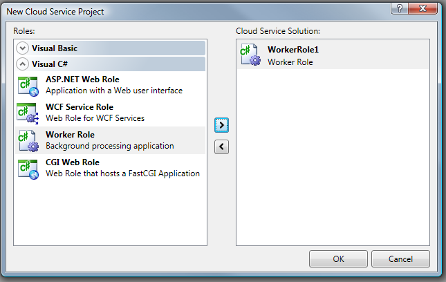 Creating a worker role using the Visual Studio tools