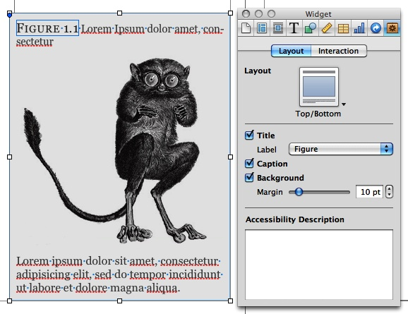 Use the Widget Inspector to turn your images into official numbered figures, complete with title and caption.