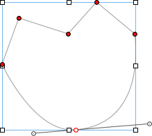 Draw your own shapes using the pen tool. Edit your endpoints by double-clicking and dragging the red dots. Make curves by clicking one of the red dots and pulling the handles extending out on both sides.