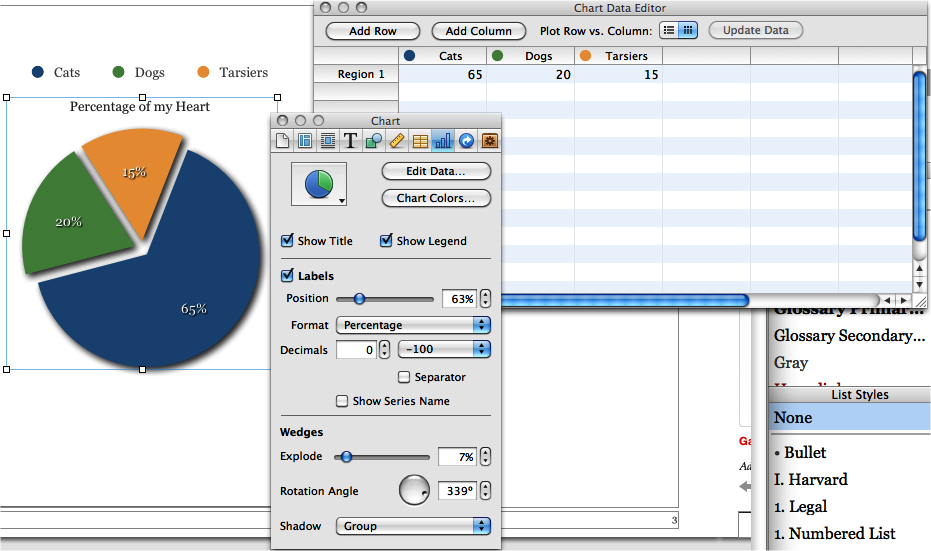 Add a chart, customize the data, and make it shine with the Chart Inspector.