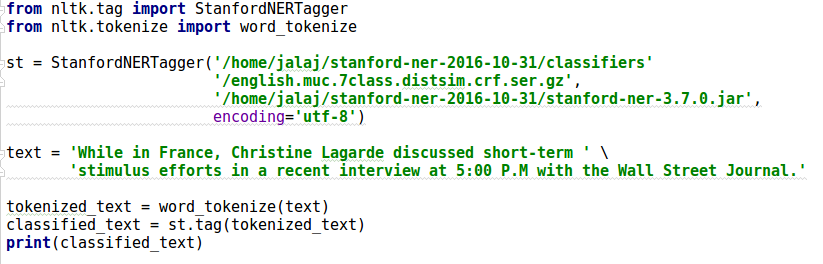 A Stanford NER example - Python Natural Language Processing