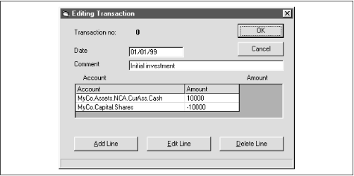 Transaction editing dialog