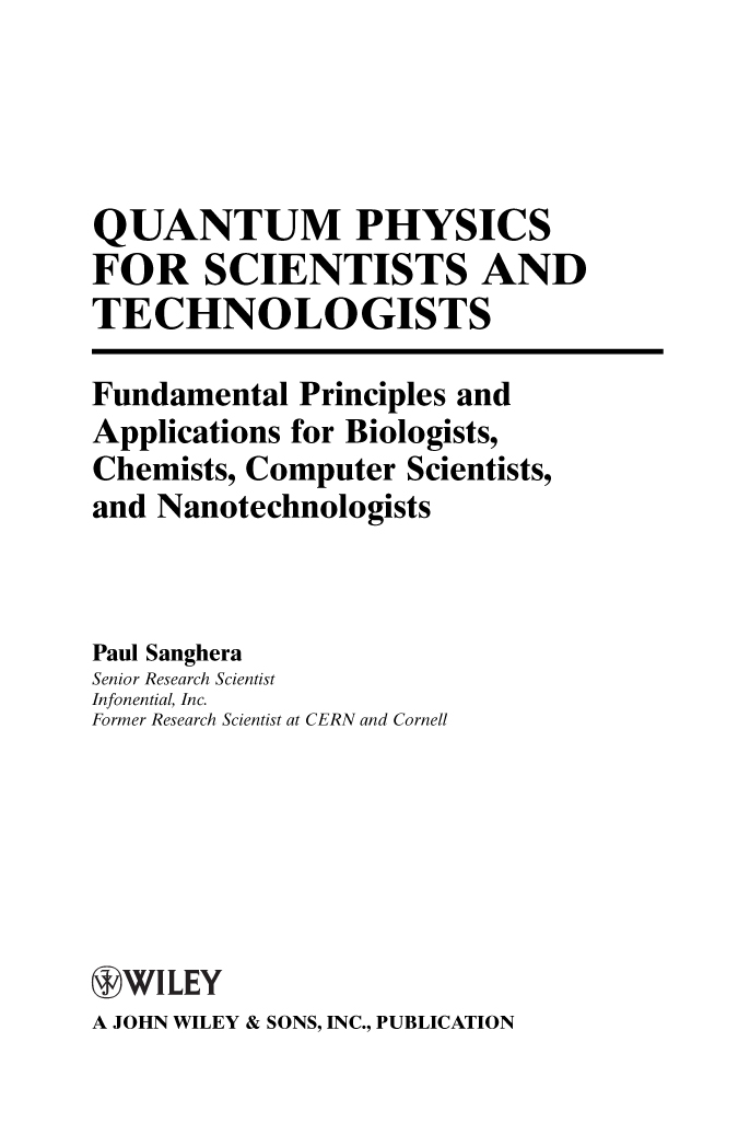 Title page - Quantum Physics for Scientists and Technologists