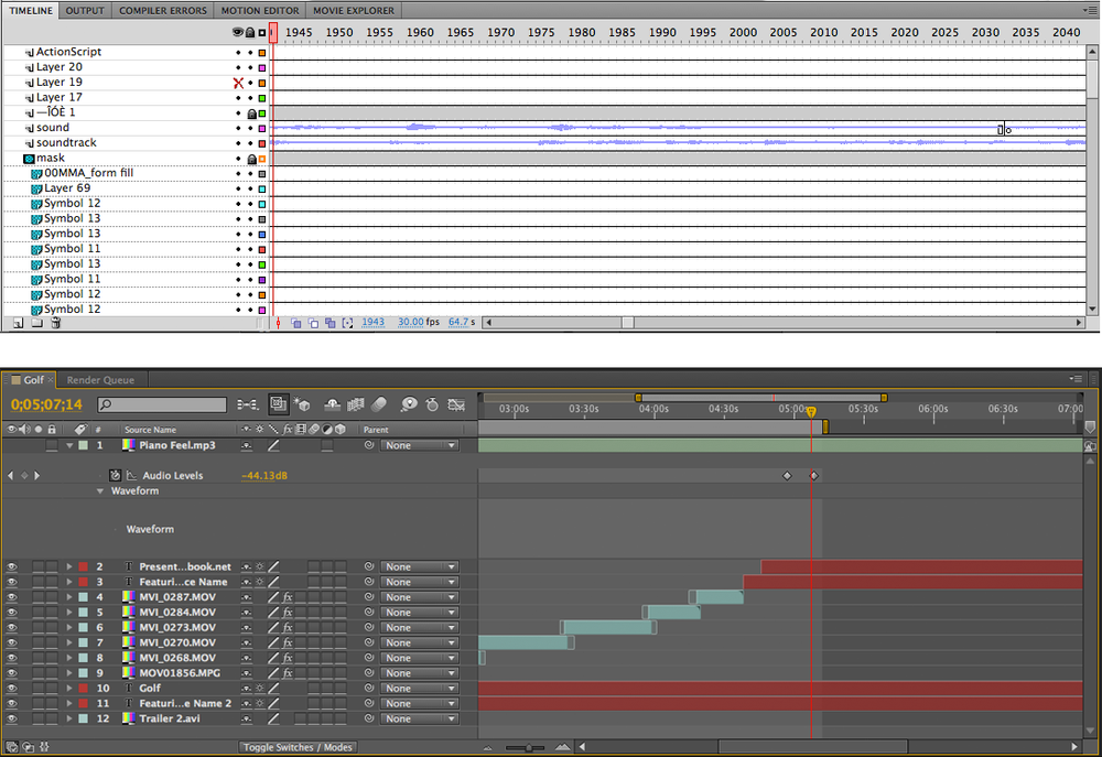 The timeline in Flash and After Effects