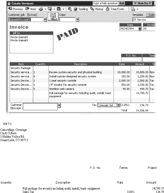 "Top: When you add a Group item to an invoice (Security Package in this example), QuickBooks replaces that one item with all the individual items, along with their prices, descriptions, and whatever else you've defined. To show these items on the invoice, turn on the ""Print items in group"" checkbox.Bottom: For fixed-price invoices, which you use when you charge the customer a fixed amount—regardless of how much or little it costs you to deliver—you don't want to show the underlying prices for each item you deliver. When you create a Group item and turn off the ""Print items in group"" checkbox, you still see all the individual items in the Create Invoices dialog box, but the invoice you generate to send to the customer shows only the Group item itself, along with the total cost for all the items in the Group."