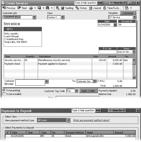 Top: A Payment item (here, a check) reduces the balance on an invoice by the amount the customer paid.Bottom: A Payment item also executes the equivalent of a Receive Payments command. A Payment item assigns the payment method that the customer used and deposits the funds into a bank account, or groups the payment with other undeposited funds.