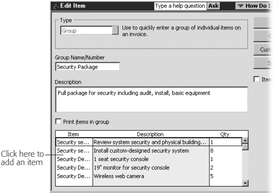When you add a Group item to an invoice, QuickBooks fills in the Description cells for each individual item with the contents of its Description field. The background in the Description column is a different color to indicate that you can't edit these cells.