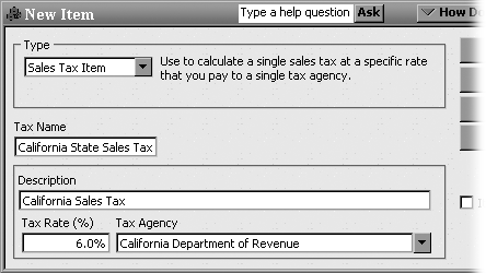The Tax Name field can include up to 31 characters—more than enough to use the 4- or 5-digit codes that many states use for sales taxes. The Tax Rate (%) field sets the percentage of the sales tax. The Tax Agency drop-down list shows the vendors you've set up, so you can choose the tax agency to which you remit the taxes. If a tax authority collects the sales taxes for several government entities, a Sales Tax Group is the way to go. (See the box on Section 4.9.)