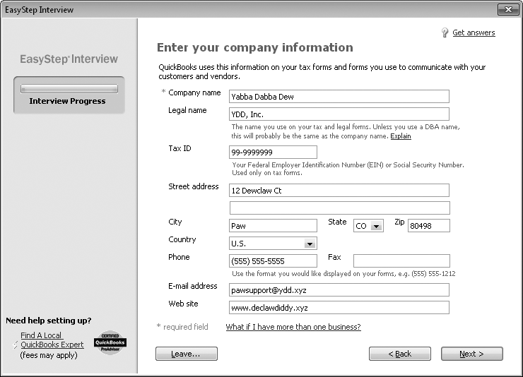 "In the ""Company name"" field, type the name you want to appear on invoices, reports, and other forms. In the ""Legal name"" field, enter the company name as it should appear on contracts and other legal documents. These names are usually the same unless you use a DBA (doing business as) company name. If you own a corporation, the legal name is what appears on your Certificate of Incorporation. The Tax ID box is for the federal tax ID number you use when you file your taxes—your Social Security Number or Federal Employer Identification Number."