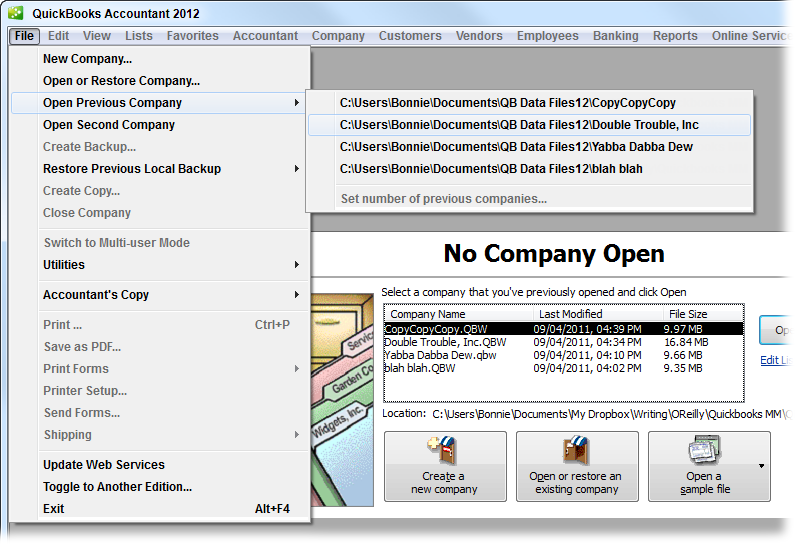 1  Creating a Company File - QuickBooks 2012: The Missing