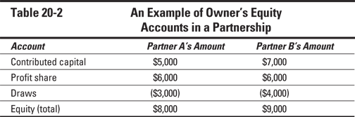 Table 20-2	An Example of Owner's Equity  	Accounts in a Partnership