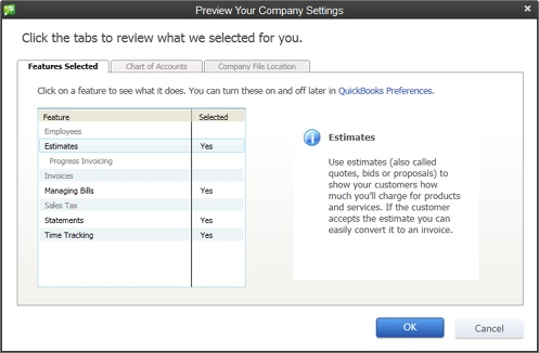 You can't use this dialog box to change the features listed on the Features Selected tab. However, you can adjust those settings later in the Preferences dialog box (page 608). To modify the accounts in your company file or where the file is stored, click the Chart of Accounts or Company File Location tabs, respectively.