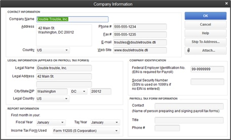 Some bits of company information change more often than others. For instance, you might relocate your office or change your phone number, email address, or website address. But stuff like your company's legal name and address, Federal Employer Identification Number, and business type (corporation, sole proprietor, and so on) usually stays the same.