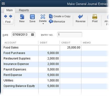 A journal entry that records income and expense totals is a compromise you can make when you must start using QuickBooks midyear. Each journal entry table row allocates funds to an income or expense account. Enter an income account total in the Credit cell. Enter an expense account total in the Debit cell. If total expense is less than total income, assign the leftover amount in the debit column to the Opening Balance Equity account. (That remaining amount is profit, which becomes your equity in the company, as described on page 461.)