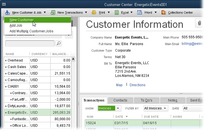 To create a new customer in the Customer Center, click New Customer & Job→New Customer. To view a customer's details and transactions, click the customer's name in the Customers & Jobs tab on the left side of this window. If the Transactions tab is selected instead, you'll see a New Customer button on the Customer Center menu bar; clicking it opens the New Customer window.