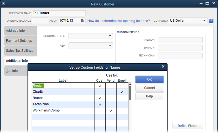 "The ""Set up Custom Fields for Names"" dialog box (which opens when you click Define Fields in a New or Edit window for customers, vendors, or employees) lets you create up to 15 custom fields. To associate a custom field with a customer, vendor, or employee, click the corresponding cell in the field's row in the table. You can associate a custom field with one or more types of names; for example, with both customers and employees."
