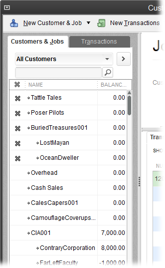 To make hidden customers visible again and reactivate their records, in the drop-down list at the top of the Customers & Jobs tab, choose All Customers, as shown here.When you do that, QuickBooks displays an X to the left of every inactive customer in the list. Simply click that X to restore the customer to active duty.