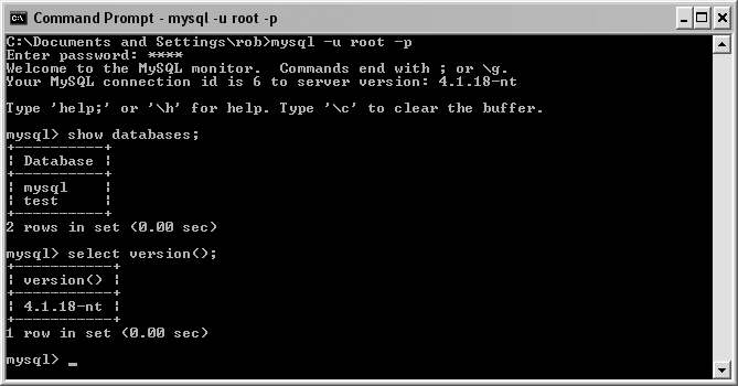 Interaction with MySQL from the command prompt