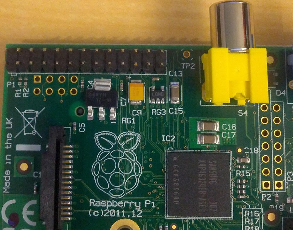 Raspberry Pi Model B with the GPIO header in the upper-left corner