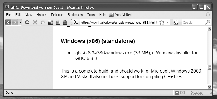 Screenshot of Firefox, displaying the GHC download page