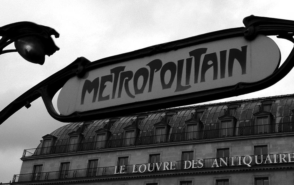 Metro sign outside the Louvre in Paris