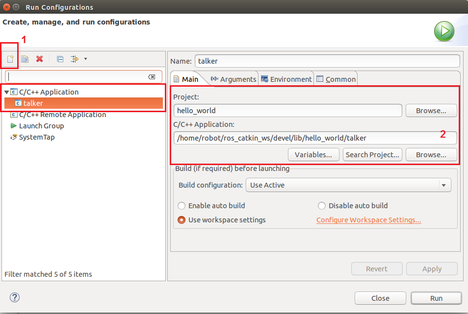 Adding run configurations to run ROS nodes in Eclipse - ROS
