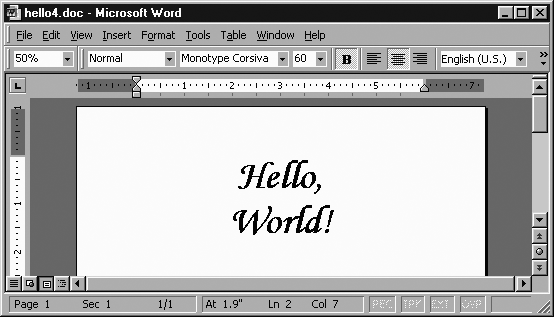 """Hello, World!"" document viewed in MSWord"