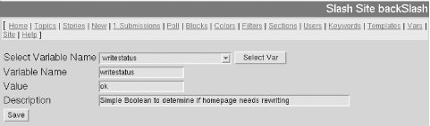 The Variables interface, used to edit configuration variables