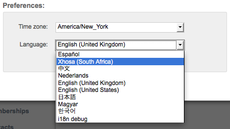 Xhosa Language menu item is added by editing config.js