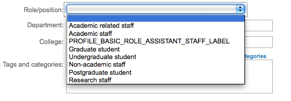 Distinctly half-finished modification to the Roles drop-down