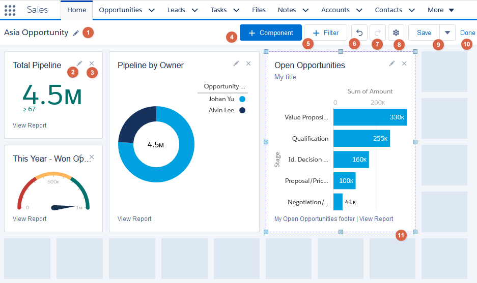 Dragging and dropping in the Dashboard Builder - Salesforce